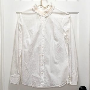 J. Crew White Ruffled-Neck Button Down Top